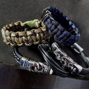Bracelets Leather Paracord