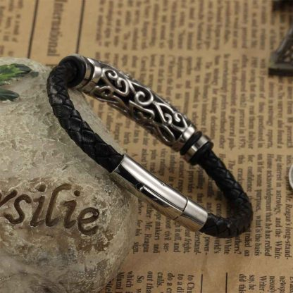 Leather Bracelet Braid Vintage