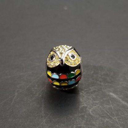 Silver Enamel Owl