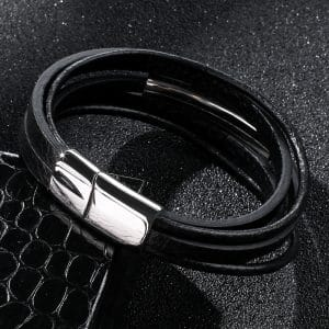 MultiLayer Leather Steel Bracelet